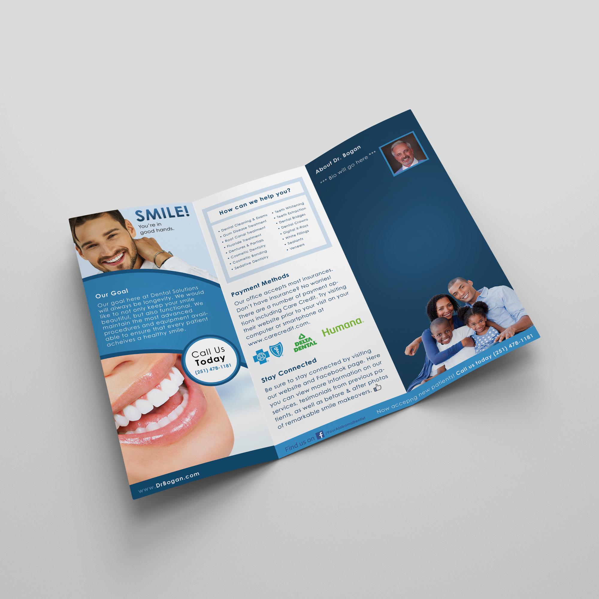 Back of Brochure for Dental Solutions in Mobile, Alabama