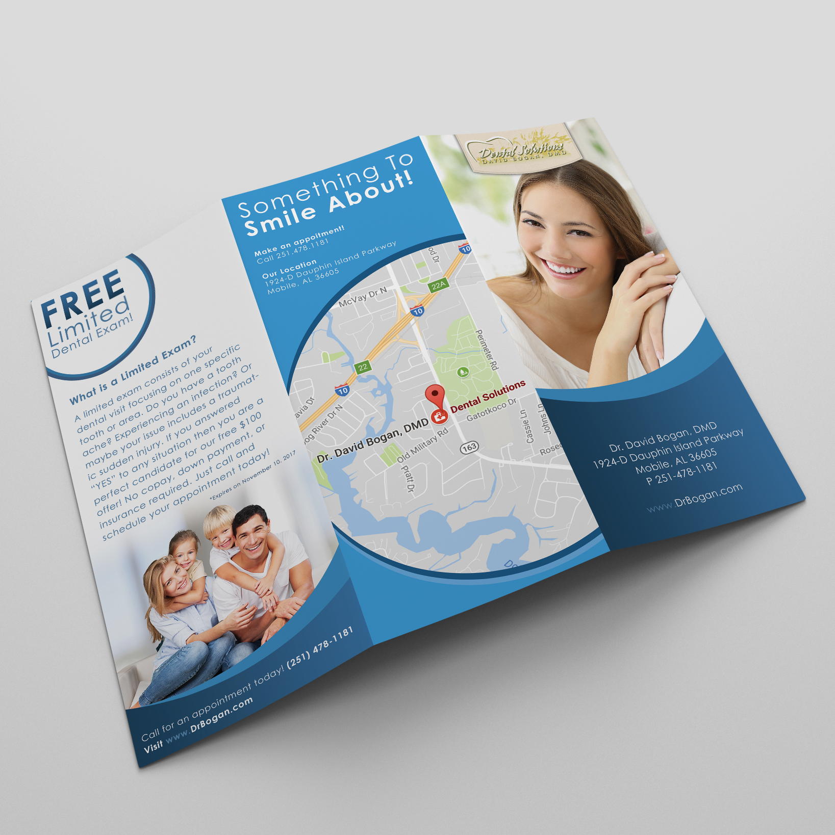 Front of Brochure for Dental Solutions in Mobile, Alabama